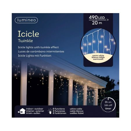 LED Icicle Twinkle Lights 490L Warm White - image 2